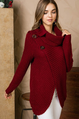 Cowl Neck Sweater with Button Accent