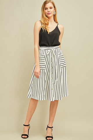 Striped Skirt with Tie Waist and Pockets