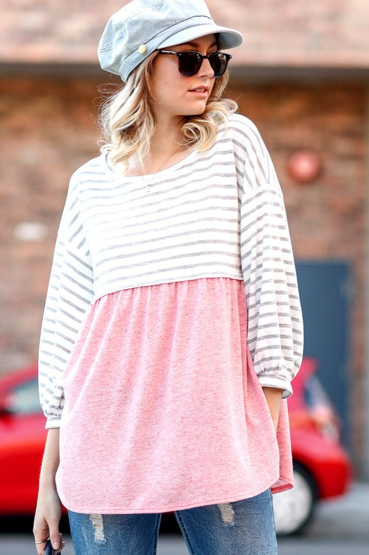 Striped Top with Contrast Bottom