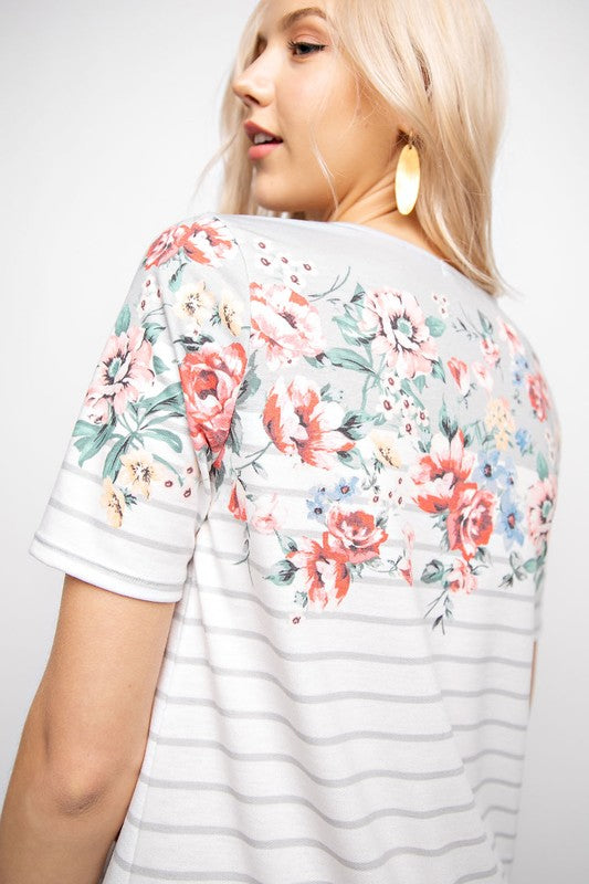 Striped/Floral Short Sleeve Top