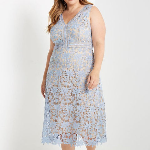 Sleeveless Lace Midi Dress