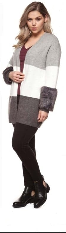 Dex - Color Block Cardigan With Faux Fur