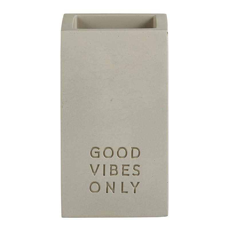 """Good Vibes Only"" Cement Pen Holder"