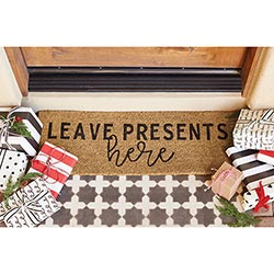 """Leave Presents Here"" Thin Door Mat"