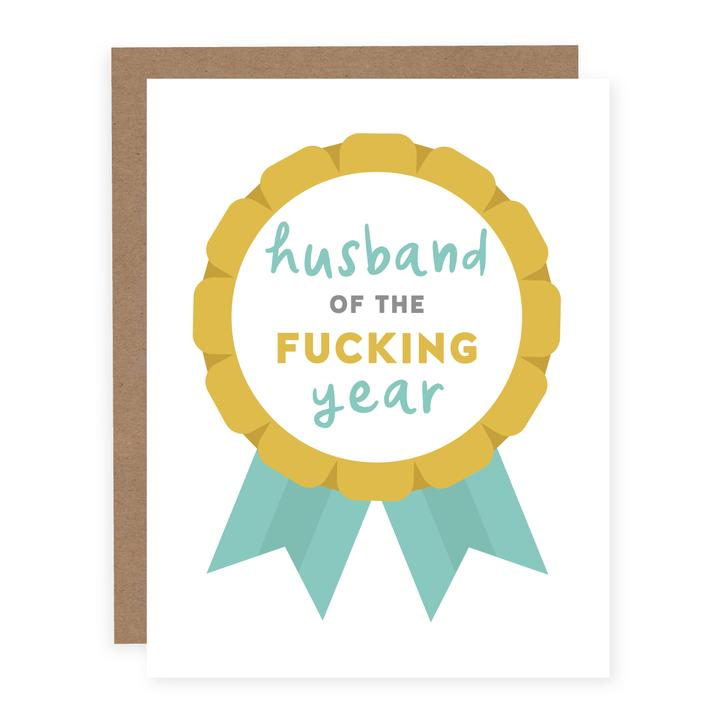 """Husband of the Fucking Year"" Greeting Card"