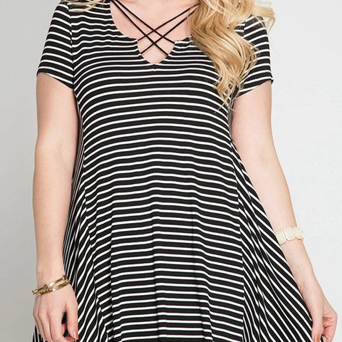 Criss Cross Stripe Dress