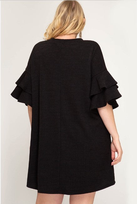 Ruffle Sleeve Knit Dress
