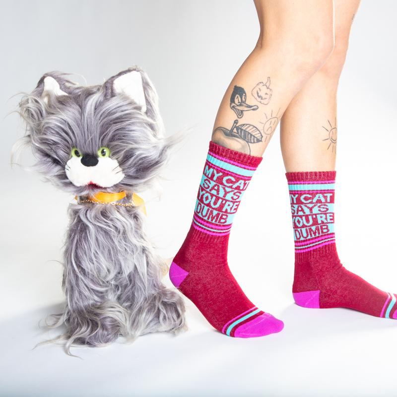 """My Cat Says You're Dumb"" Ribbed Gym Socks"