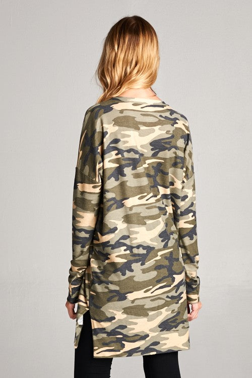 Camo Long Sweater With Side Slits