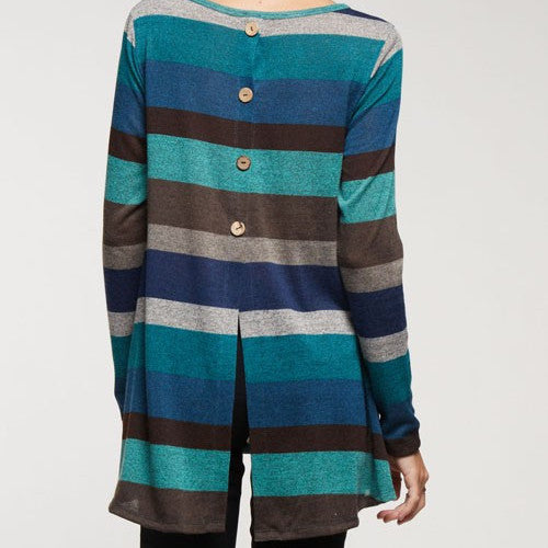 Long sleeve sweater with blue horizontal stripes, split hem and button detail at the back