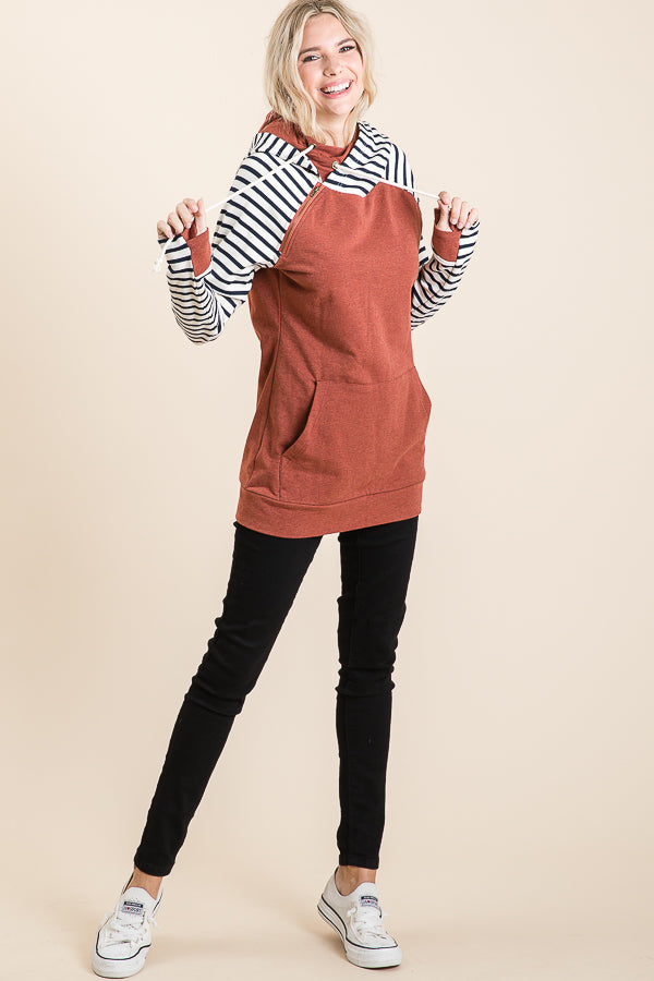 Rust Colored Hoodie With Stripe Sleeves