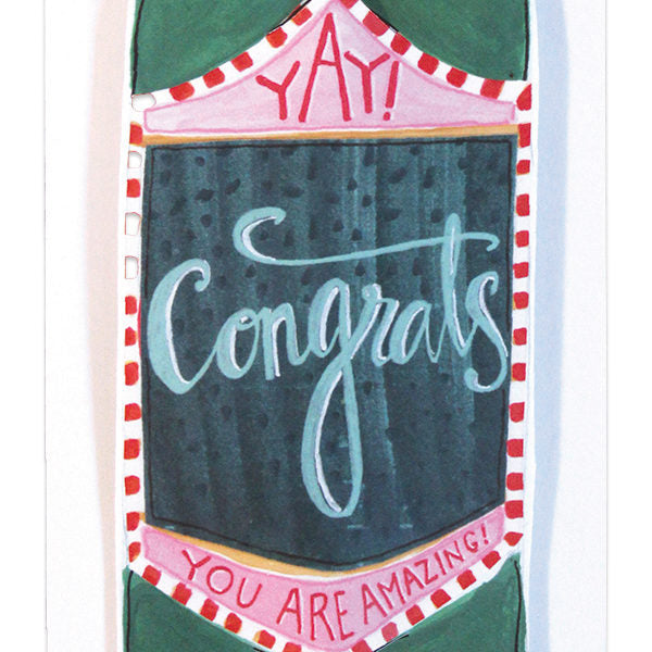 """YAY Congrats"" Bottle Straw Card"