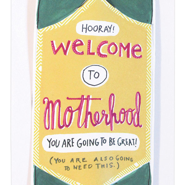"""Motherhood"" Bottle Straw Card"