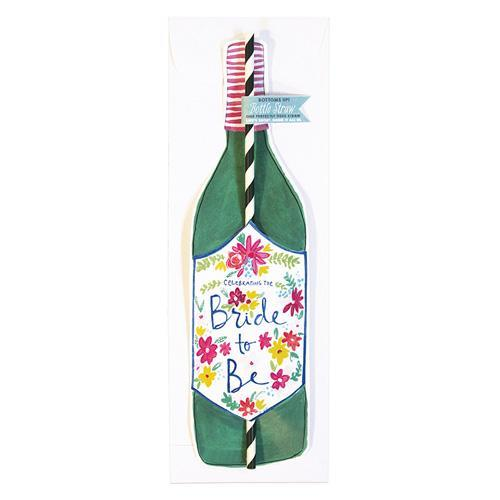 """Bride To Be"" Bottle Straw Card"