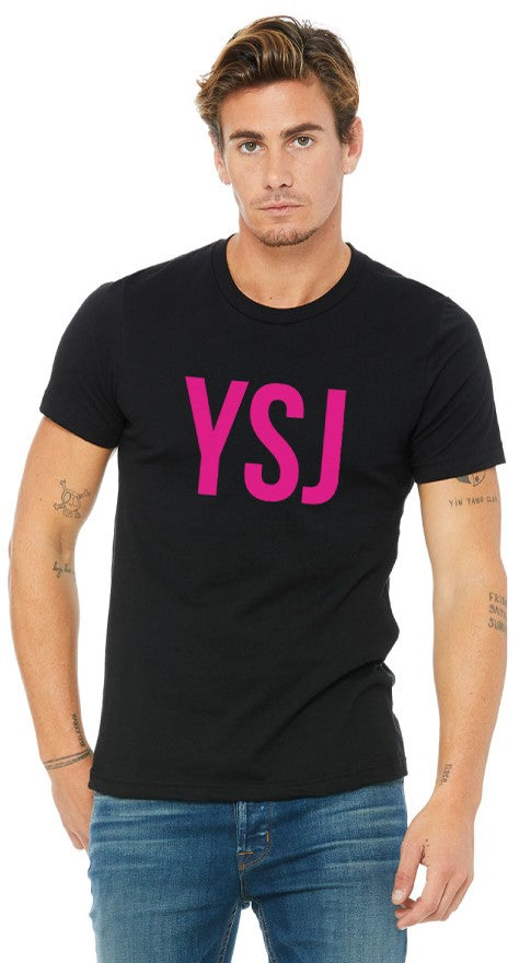 YSJ 2019 - Unisex T Shirt in Black with Pink Font