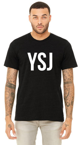 YSJ 2019 - Unisex T Shirt in Heather Black with White Font