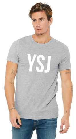 YSJ 2019 - Unisex T Shirt in Heather Grey with White Font