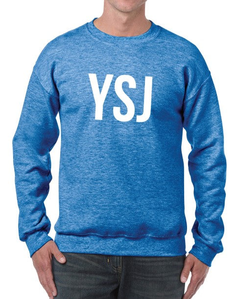 YSJ 2019 - Unisex Sweatshirt in Heather Sport Royal with White Font