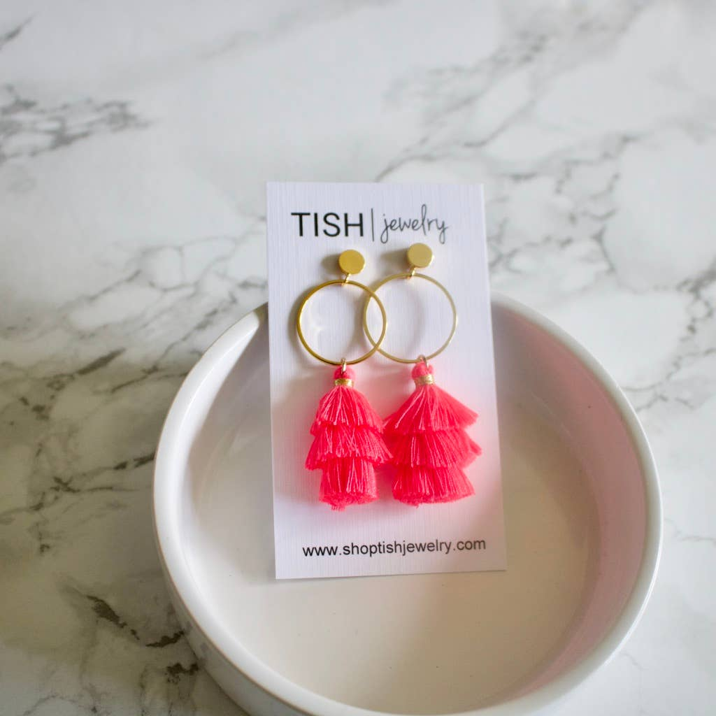 Neon Pink Tiered Tassel Earrings