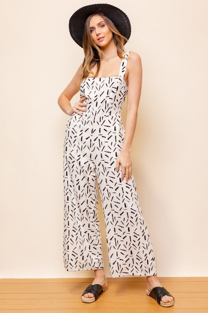 Abstract Print Smocked Back Jumpsuit