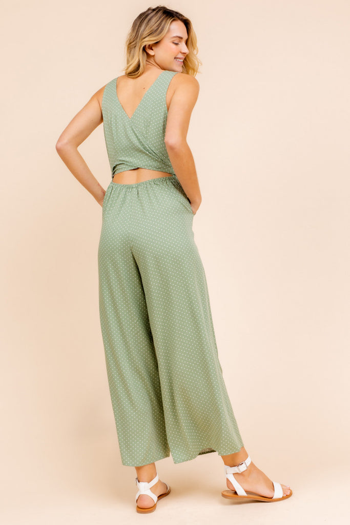 Sleeveless Front Tie Jumpsuit