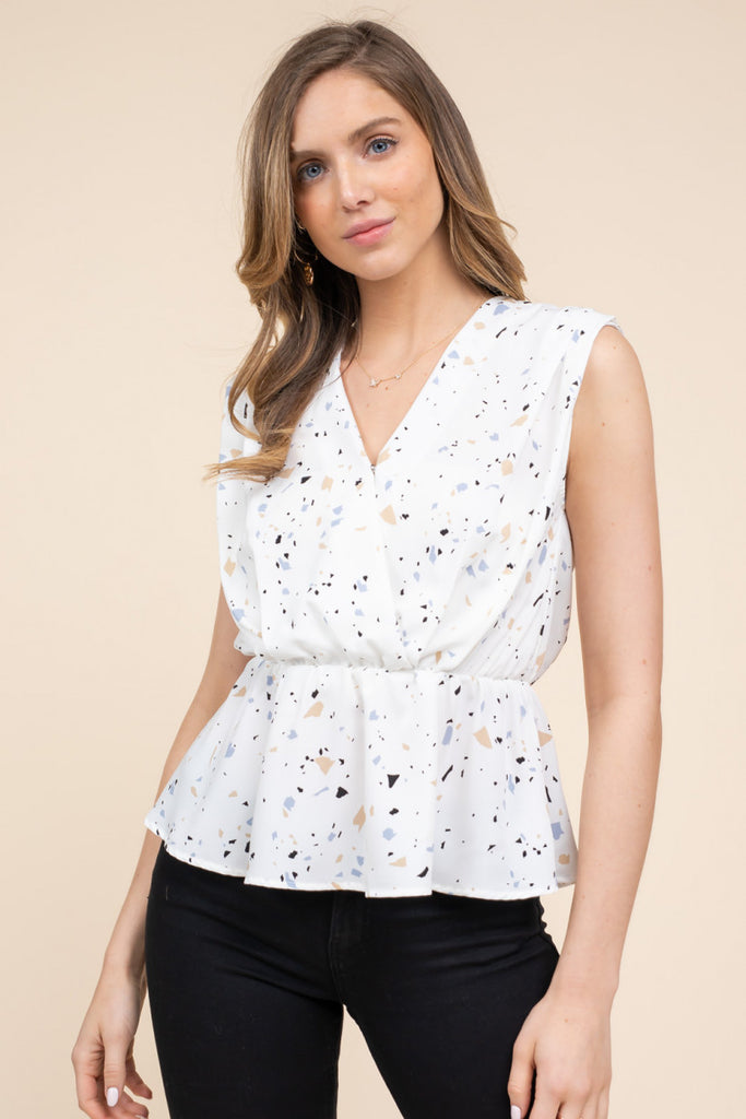 Abstract Print Peplum Top