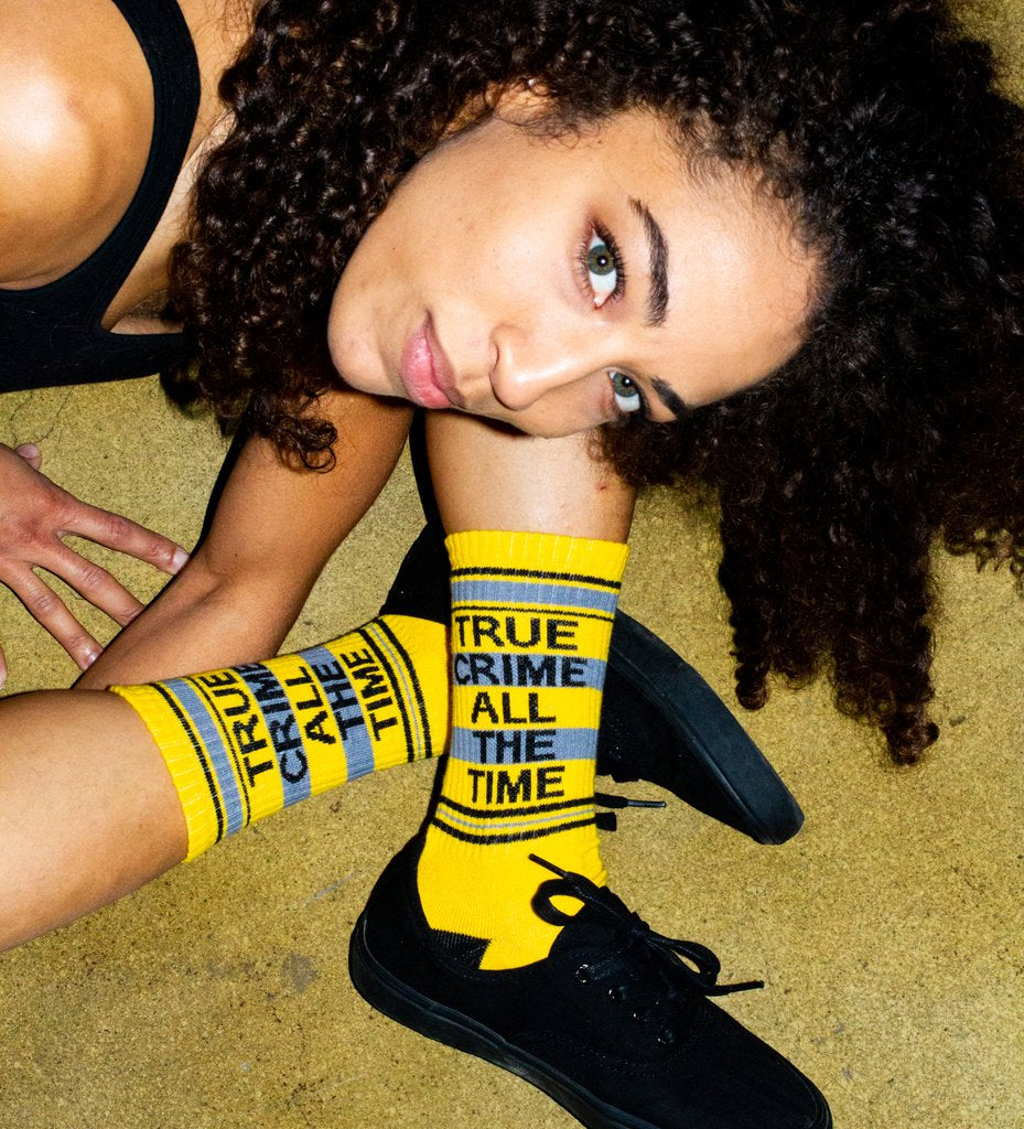 """True Crime All The Time"" Ribbed Gym Socks"