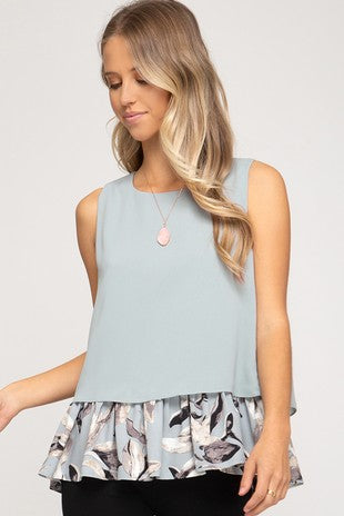 Sleeveless Top with Contrast Hem
