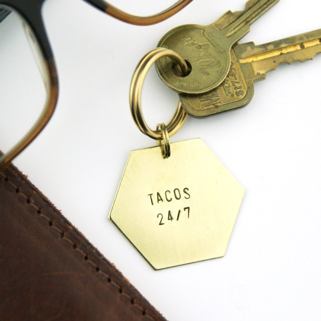 """Tacos 24/7"" Stamped Keychain"