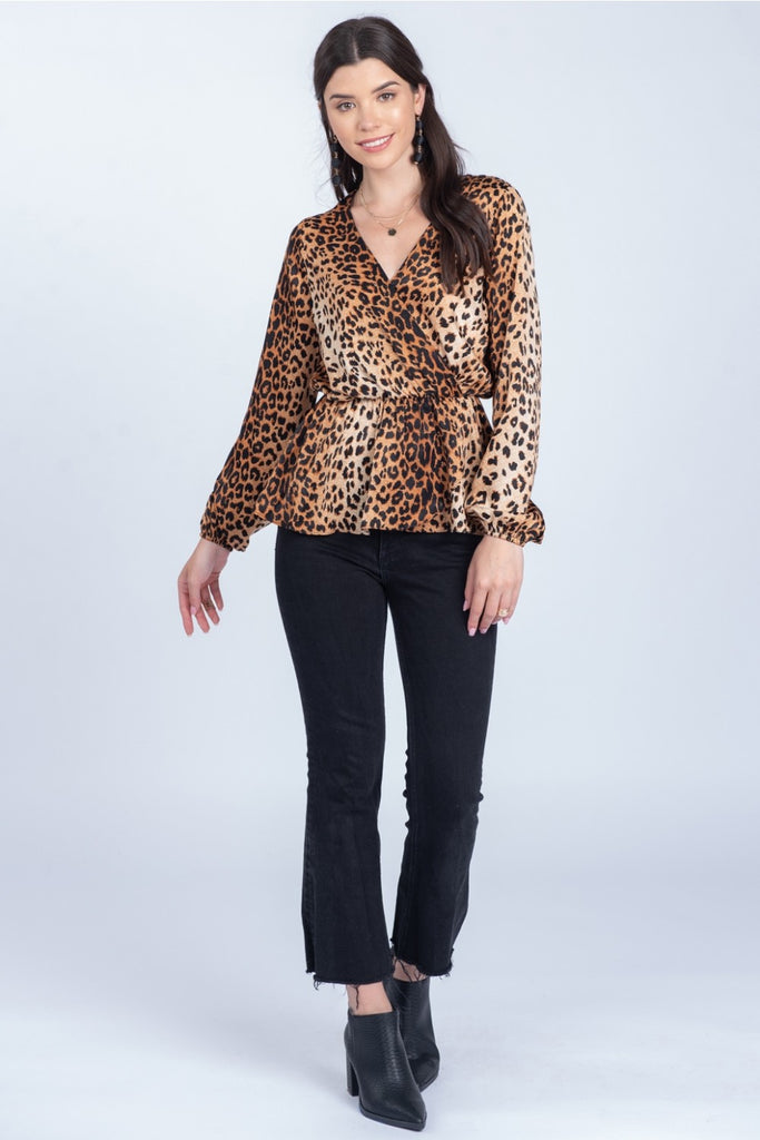 Leopard Blouse with Peplum
