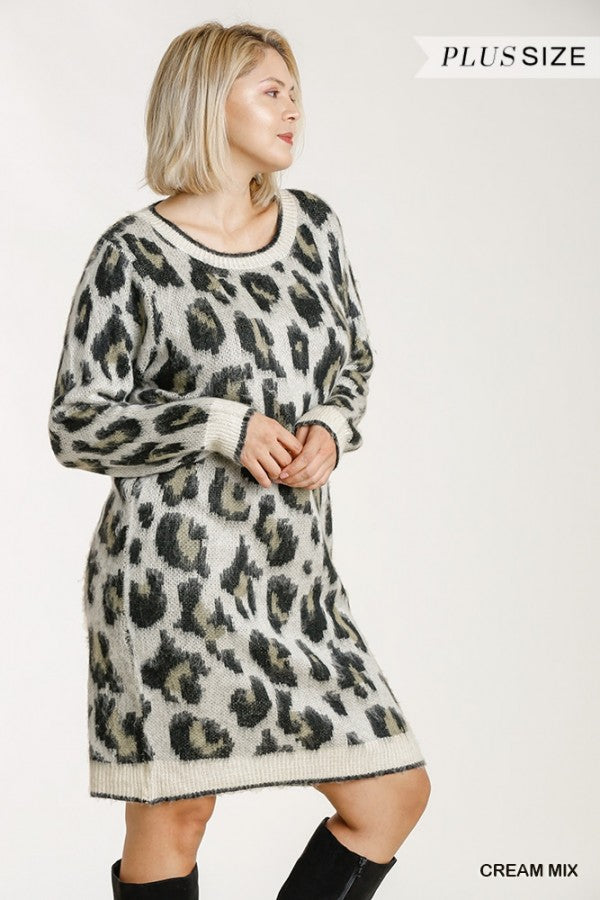 Leopard Print Sweater Dress (Plus Size)