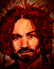 CHARLES MANSON : Cremain prints, paintings blood paintings