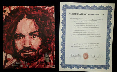 Charlie / Charles Manson human blood ash / cremains print with COA by Ryan Almighty
