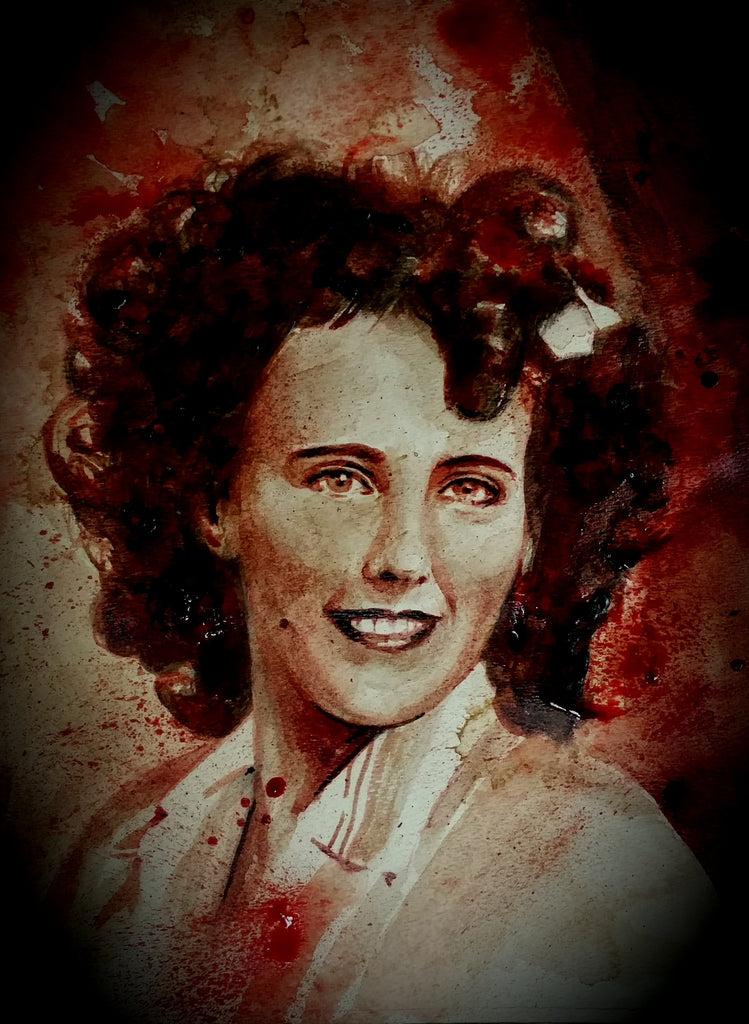 RYAN ALMIGHTY : ORIGINAL HUMAN BLOOD PAINTING : ELIZABETH SHORT/THE BLACK DAHLIA