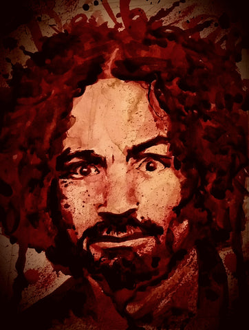 Charles Manson human blood painting by Ryan Almighty, first in the series that eventually lead to the paintings using Charlie's cremation / remains