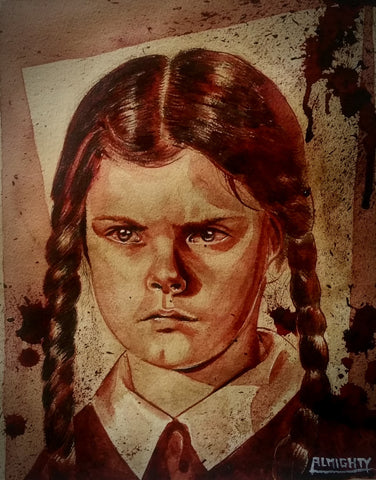 RYAN ALMIGHTY : ORIGINAL HUMAN BLOOD PAINTING : WEDNESDAY ADDAMS PORTRAIT(SOLD)