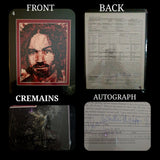 Charlie / Charles Manson human blood ash / cremains print with COA by Ryan Almighty with autograph / signature
