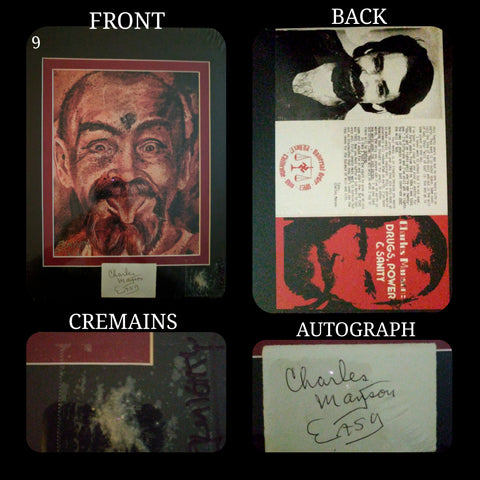 Charlie / Charles Manson human blood ash / cremains print with COA by Ryan Almighty with DRUGS POWER AND SANITY pamphlet repro and autograph / signature