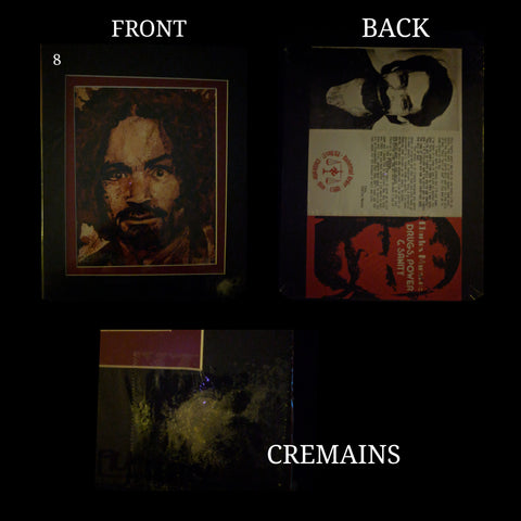 Charlie / Charles Manson human blood ash / cremains print with COA by Ryan Almighty with DRUGS POWER AND SANITY pamphlet repro