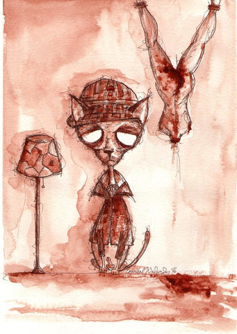 CANNIBAL WEDNESDAY HUMAN BLOOD PAINTING: CAT SERIES - ED GEIN (SOLD)