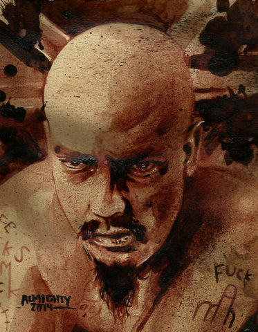 RYAN ALMIGHTY: ORIGINAL HUMAN BLOOD PAINTING : GG ALLIN PORTRAIT(SOLD)