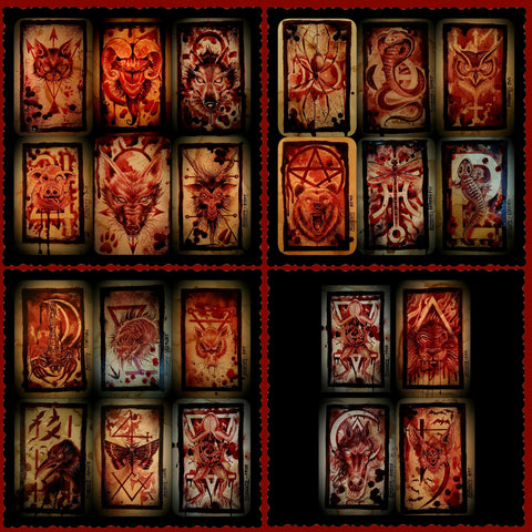 HUMAN BLOOD ORACLE TAROT COLLECTION - ORIGINAL PAINTINGS (22) by Ryan Almighty(SOLD)