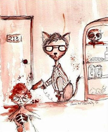 CANNIBAL WEDNESDAY HUMAN BLOOD PAINTING: CAT SERIES - JEFFREY DAHMER