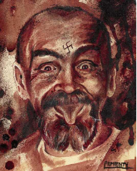 Human Blood rendering of Charles Mansons iconic image making faces and sticking out his tongue. eventualy Charlie's cremated ashes were added to this,