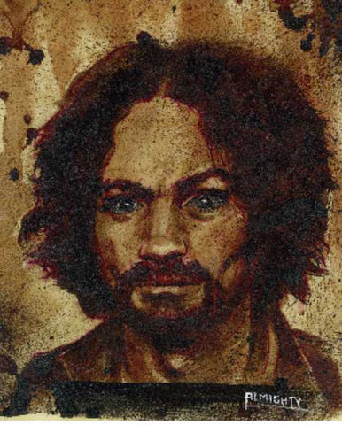 First Charles Manson human blood painting that included Manson's cremated remains. The original is displayed at Zak Bagans Haunted Museum in Las Vegas