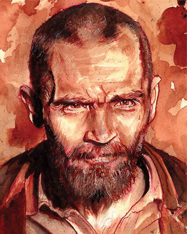 Human Blood painting of Charles Manson using an early 70s reference of Charlie in prison, The original of this painting contains Charlie's ashes and some of his hair