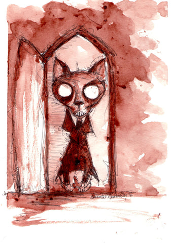 CANNIBAL WEDNESDAY ORIGINAL HUMAN BLOOD PAINTING :  CAT SERIES: NOSFERATU