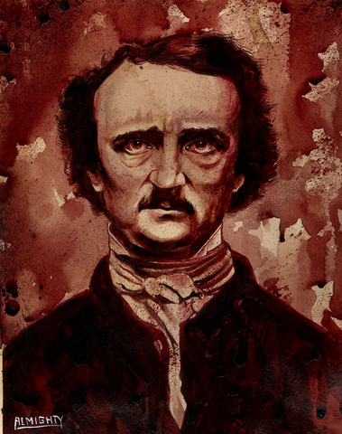 RYAN ALMIGHTY : ORIGINAL HUMAN BLOOD PAINTING : EDGAR ALLAN POE PORTRAIT