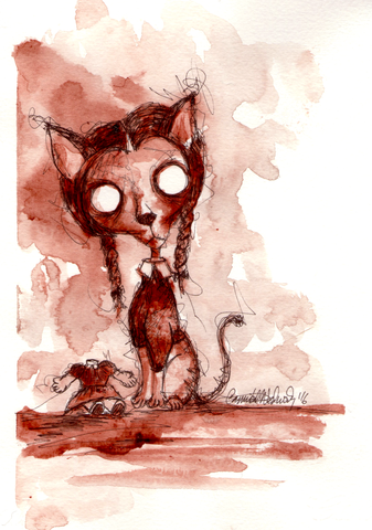 CANNIBAL WEDNESDAY : HUMAN BLOOD PAINTING : CAT SERIES : WEDNESDAY ADDAMS