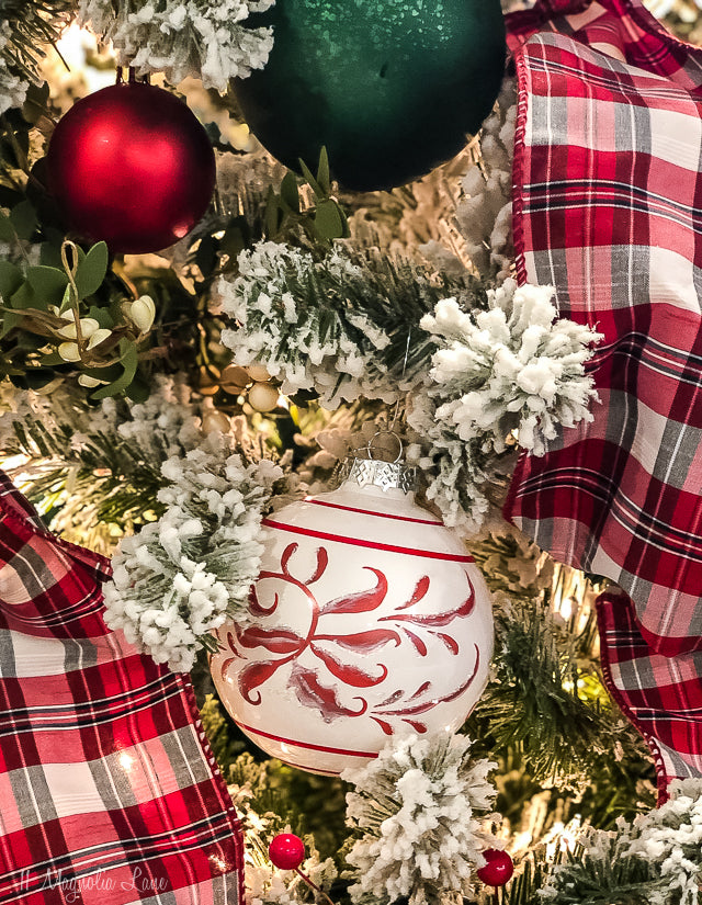 Red + White Patterned Glass Ball Ornament